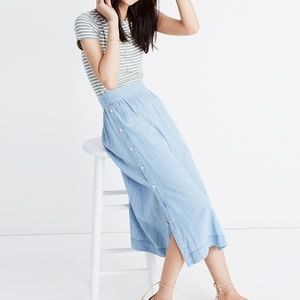 Madewell Indigo Side Button Midi Skirt